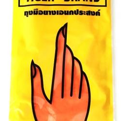 ถุงมือยางสีส้ม เบอร์ S ตราเสือ