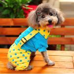 ชุดสี่ขาสุนัข ทูโทนลายจุด สีฟ้า-เหลือง ไซส์ L