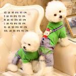 ชุดสุนัขสี่ขา สีเขียว ลายคุมะ ไซส์ XXL