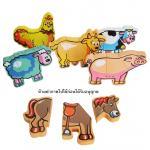 ของเล่นไม้ AniMagnet ตัวต่อไม้สัตว์ในฟาร์ม