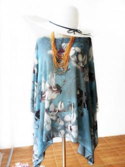Handkerchief Chiffon Blouse Free Size สีฟ้าอมควันบุรี