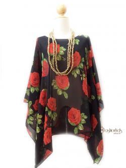 Handkerchief Chiffon Blouse Size 50 กุหลาบแดงพื้นดำ
