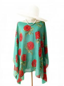 Handkerchief Chiffon Blouse Free Size สีเขียวกุหลาบ