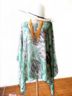 Handkerchief Chiffon Blouse Free Size สีเขียวเพ้นท์ลายดอก