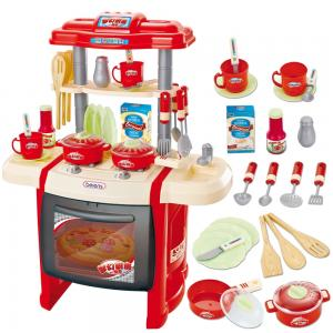 Kitchen set โต๊ะครัว สีแดง มีไฟ มีเสียง พร้อมอุปกรณ์มากมาย