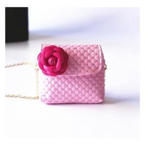 กระเป๋าแฟชั่นสำหรับเด็ก สายโซ่ สีชมพู ติดดอกไม้