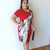 เดรสพิมพ์ลายเสือดาวพาดบ่า Leopard Block Dress (Red)