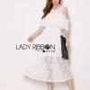 Lady Ribbon's Made Lady Leila Casual Chic Cut-Out Chiffon and Lace Midi Dress