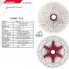 สเตอ 10 สปีด ขนาด 11-42T สำหรับสายไต่เขา SUNRACE CSMX3 สีเงิน/แดง น้ำหนัก 387 กรัม