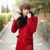 เสื้อกันหนาวแฟชั่นนำเข้า : เสื้อโค้ท พร้อมส่ง สีแดง ตัวยาว คอปก พร้อมเฟลอขนสัตว์เทียม ใส่ไปต่างประเทศได้