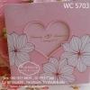 WC 5703 การ์ดสีชมพู ลายดอกชบา