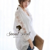 Smart Shirt Long Sleeve See Through Lace Furnish by Seoul Secret Material