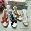 รองเท้าส้นเตารีด Style Hermes สวยเก๋ หน้า H สีทูโทนเย็บ 2 ชั้น