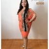 เดรสแขนเจาะ ผ่าข้าง ทรงค้างคาว Cold Shoulder Dress 2XL+ ส้ม
