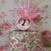 PB014กระเป๋าแป๊กผ้าดอกไม้คละสีถุงใส+โบว์ป้าย