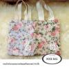 PB024กระเป๋าผ้าลายกุหลาบดอกไม้คละสีพร้อมสกรีน หูผ้าดิบ ม้วนผูกโบว์