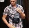 กระเป๋าคาดอก พร้อมส่ง กระเป๋าหนัง PU สีน้ำเงิน จุของได้เยอะ มีช่องเก็บของด้านหน้า สายปรับได้