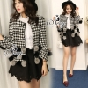 Sevy Houndstooth Fur Ball Jacket