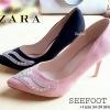 รองเท้าส้นสูง STYLE ZARA คัชชูส้นเข็ม สูง 4 นิ้ว ด้านหน้าติดเพชรสวยงาม