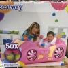 บ่อบอลเป่าลมลายรถสีชมพูพร้อมบอล30ลูก ขนาด 1.19m x 79cm x 51cm