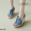 รองเท้าผ้าเนื้อยีนส์สวยเท่เสริมส้นสูงสวมใส่สบาย