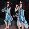 (ส่งฟรี EMS) Sevy Bohemian Satin Classy On The Beach Dress