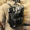 พร้อมส่ง กระเป๋าเป้ สีดำ หนัง PU มีหูจับใหญ่สำหรับใช้ถือ แบบซิป