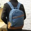 พร้อมส่ง กระเป๋าเป้ สีน้ำเงิน ผ้าแคนวาส