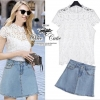 White lace top and denim skirt by ZARA