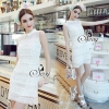 Sevy Elegant Vintage Lace High Neck Sleeveless Mini Dress