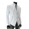 พร้อมส่ง เสื้อสูท ผู้ชาย สีขาว กระดุมหน้า 2 เม็ด ออกแบบเก๋ สุดเท่ห์