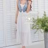 Elegant Denim Vest & White Chiffon Pleats Dress by Seoul Secret