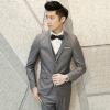 พร้อมส่ง (M,L) ชุดสูทผู้ชาย สีเทาเข้ม เสื้อสูท+เสื้อกั๊ก+กางเกง เสื้อสูทกระดุม 1 เม็ด