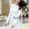 Luxury Floral Embroidery White Lace Dress