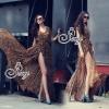 (ส่งฟรี EMS) Sevy Hi-End Leopard V-Neck Open Leg Maxi Dress