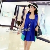 Modish Vivid Blue Set Singlet Inner and Long Suite Outer by Seoul Secret