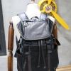 พร้อมส่ง กระเป๋าเป้ หนัง PU สีดำ แบบหูรูด มีฝาพับ มีช่องเก็บของด้านข้าง มีช่องเก็บของแบบซิป