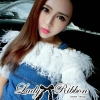 Lady Ribbon's Made Lady Eve Off-Shoulder Ruffle Feather Denim Dress