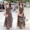 Sevy Leopard V-Neck Double-Flounced Chiffon Maxi Dress