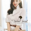 Korea Smart White Long Blouse With Brown Belt by Seoul Secret