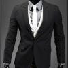 พร้อมส่ง เสื้อสูทผู้ชาย เสื้อสูทลำลอง สีดำ คอปก กระดุมเม็ดเดียว แขนยาว