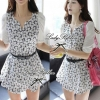 Lady Ribbon's Made Grapic Black and White Blooming Flowery Mini Dress