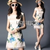 Lady Ribbon's Made Lady Hannah Sweet Feminine Satin and Flower Embroidered Organza Mini Dress