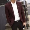 พรีออร์เดอร์ เสื้อสูท ผู้ชาย ลำลอง สีแดง ลายตาราง แขนยาว คอปก แต่งขอบกระเป๋า กระดุม 1 เม็ด
