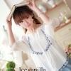 White embroidery blouse style korea