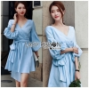 Lady Lola Dazzling Summer Blue Striped Cotton Ribbon Dress