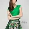 Lady Ribbon's Made 㾔ϠLady Poppy T-Shirt in Green and Floral Printed Skirt Set