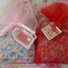 PB011กระเป๋าแป๊กลายผ้าดอกไม้ คละสี ถุงผ้า+ป้าย