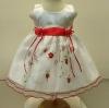 ชุดเดรสเด็กหญิงออกงานสีขาวแขนกุดปักลายสีแดงสำหรับเด็ก6-24เดือน