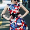 Cliona made' 3D Embroidered Diamand Pearl On Floral Printing Dress